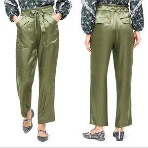 J. Crew Satin Cargo Pants Paper Bag Waist Tall